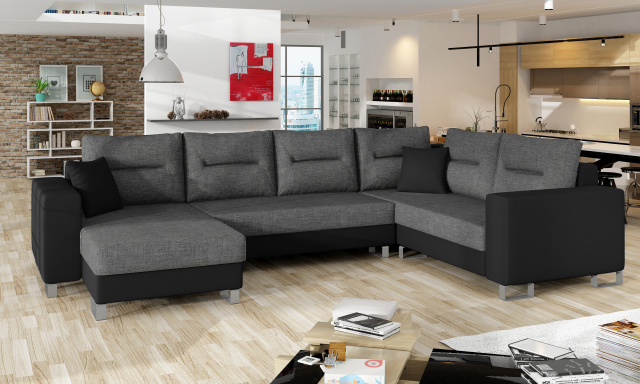 Kvalitní rohová sedačka Dorris, černá/šedá