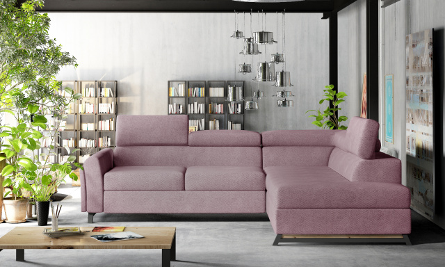 Moderní rohová sedačka Kansas, růžová Soro