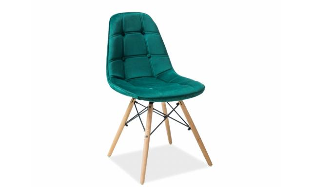 Designová jídelní židle Alexis, zelená látka