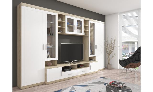 Velká obývací stěna Parle MDF, sonoma/bílá