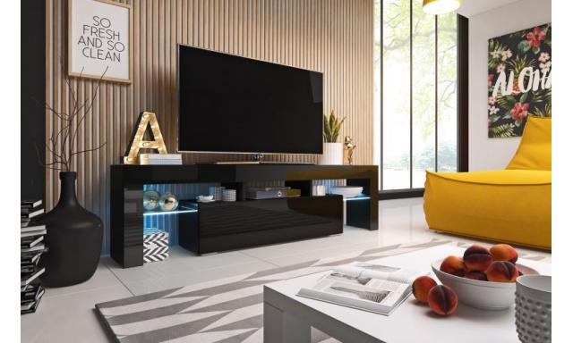Moderní TV stolek Tropez 158cm, černá/černý lesk