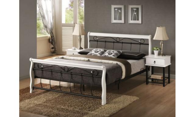Bílá kovová postel S14 - 160x200cm