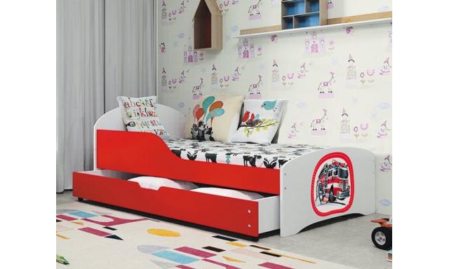 Dětská postel s úložným prostorem Robert + matrace ZDARMA!, bílá/červená