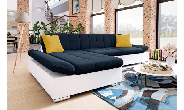 Moderní rohová sedačka Malaga, bílá/modrá