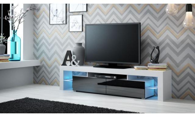 Moderní TV stolek Space, bílá/černý lesk