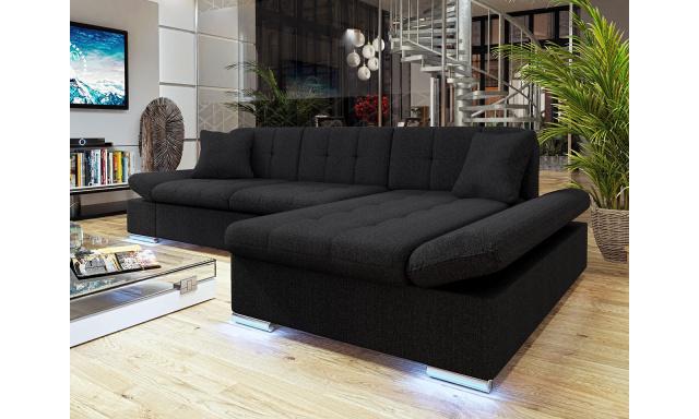 Moderní rohová sedačka Vaduz s LED osvětlením, černá