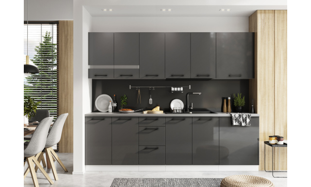 Luxusní kuchynská linka Ospo 260cm, šedá, vysoký lesk