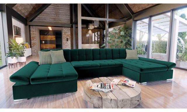 Luxusní sedací souprava Agapi, zelená Velvet