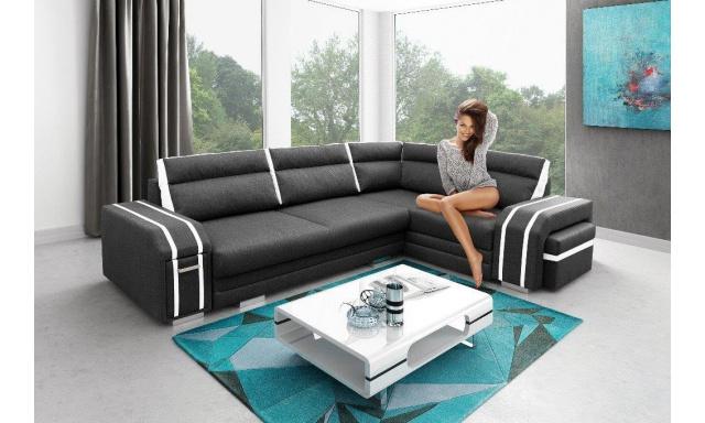 Luxusní rohová sedačka Aventador, černá