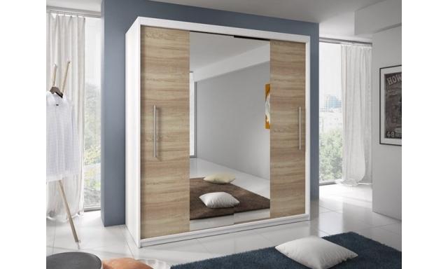 Ložnicová skřín Rino, bílá/sonoma/zrcadlo