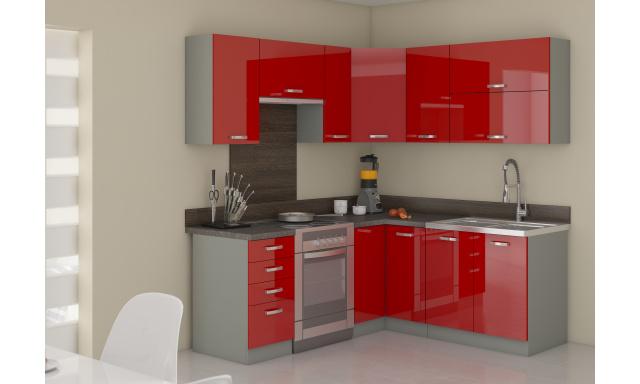 Rohová kuchyně Rosso 190x170cm, červený lesk