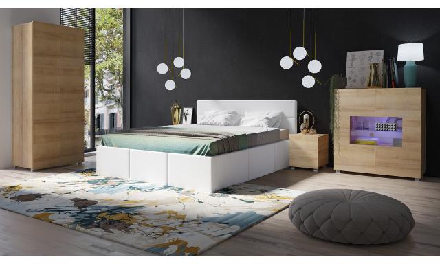 Moderní postel z eko-kůže Celeste, bílá