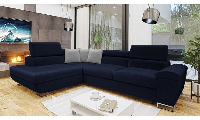 Luxusní sedací souprava Cinnamon, modrá Velvet