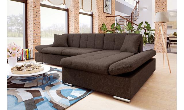 Moderní rohová sedačka Malaga, hnědá