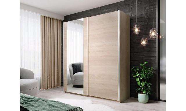 Moderní šatní skřín Horacio 180cm, sonoma + zrcadlo