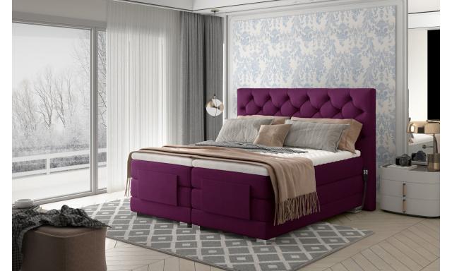 Box spring postel Clif 180x200, fialová, elektrické polohování