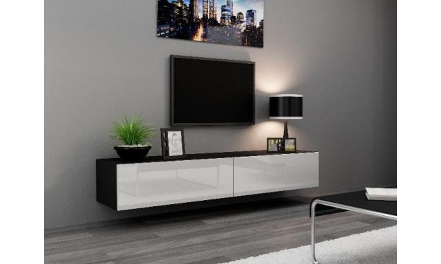 Moderní televizní stolek Igore 180, černá/bílý lesk