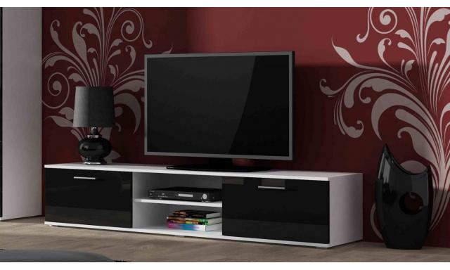 Moderný televízny stolík Zita 180, biela / čierny lesk