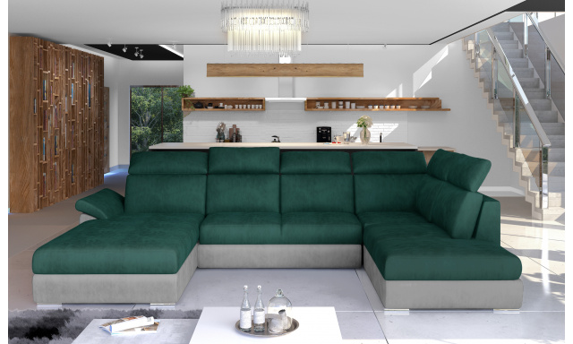 Rohová sedačka ve tvaru U Estonia, šedá/zelená