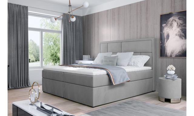 Kvalitní box spring postel Meredit 180x200, šedá Monolith