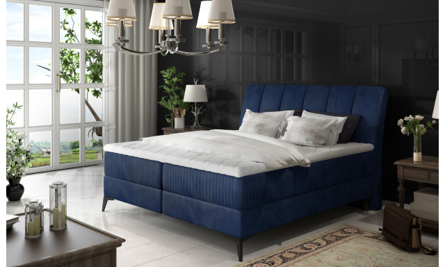 Elegantní box spring postel Ariana 180x200, modrá