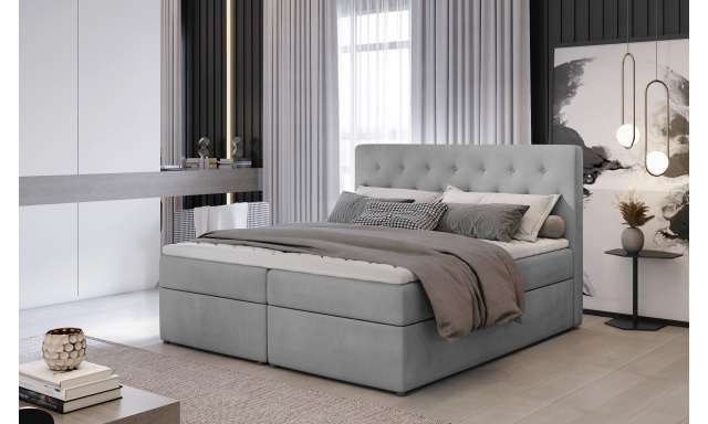 Kvalitní box spring postel Lapito 180x200, šedá Monolith