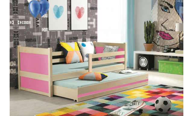 Dětská postel pro 2 děti Random, borovice/růžová, 190x80cm