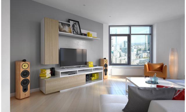 Moderní obývací stěna Marie, bílá/sonoma