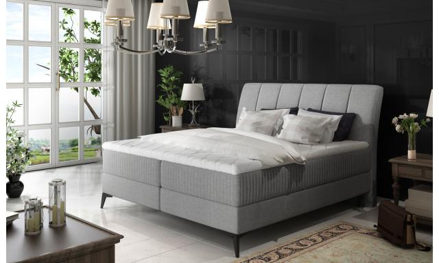 Elegantní box spring postel Ariana 180x200, světle šedá