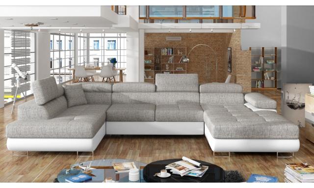 Rohová sedačka ve tvaru U Ramon, bílá/šedá