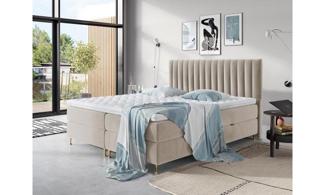 Elegantní box spring postel Eleanor 180x200, béžová