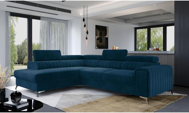 Moderní sedací souprava Ledrano, modrá Monolith