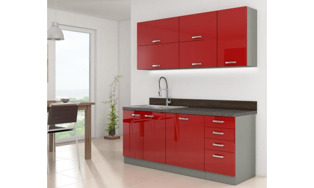 Luxusní kuchyně Rosso 180cm, červený lesk