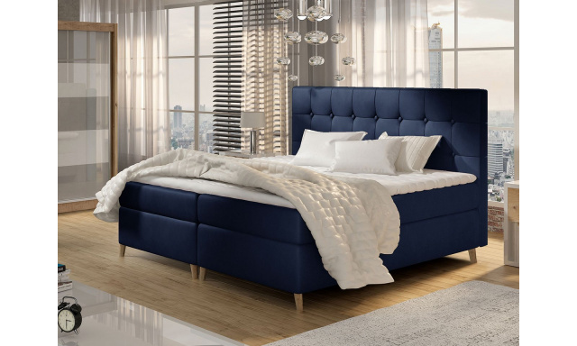Moderní box spring postel Ariel 180x200, modrá