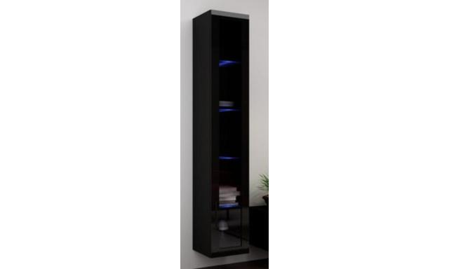 Závěsná vitrína Igore 180 sklo, černá/černý lesk