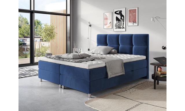 Moderní box spring postel Angela 180x200, modrá