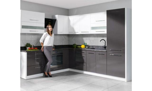 Rohová kuchyně Capito, 270x210cm, bílá/šedý lesk