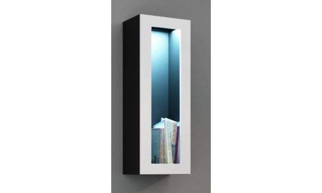 Závěsná vitrína Igore 90 sklo, černá/bílý lesk