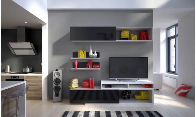 Moderní obývací stěna Trasco, bílá/černý lesk
