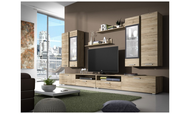 Moderní obývací stěna Sierra, dub san remo
