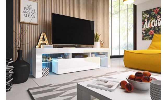 Moderní TV stolek Tropez 158cm, bílá/bílý lesk