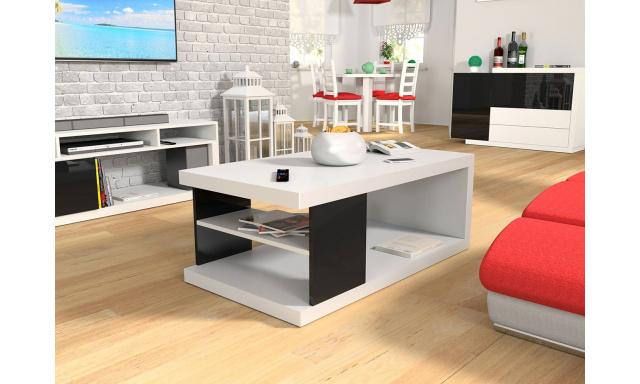Konferenční stůl Perro, bílý/černý lesk