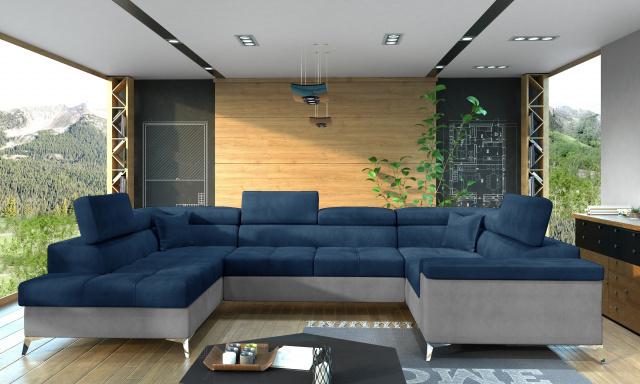 Rohová sedačka ve tvaru U Teuns, šedá/modrá Monolith