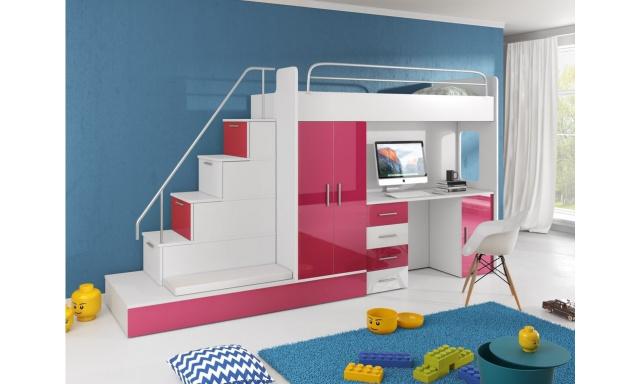 Dětský pokoj Rimini, bílá/růžový lesk