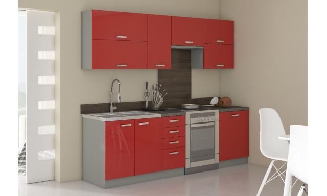 Luxusní kuchyně Rosso, červený lesk