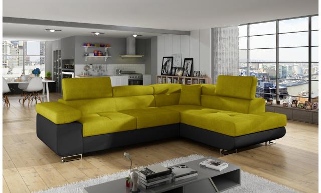 Moderní rohová sedačka Astra, černá/žlutá