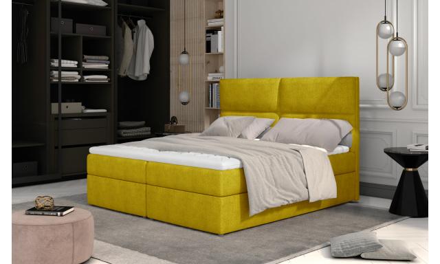 Prodloužená box spring postel Adam 210x185cm, žlutá