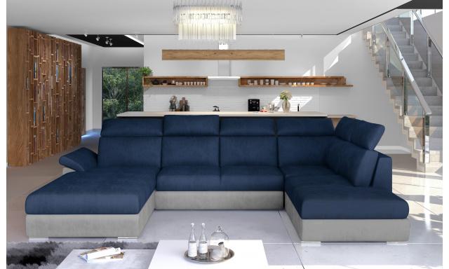 Rohová sedačka ve tvaru U Estonia, šedá/modrá