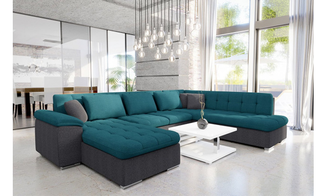 Luxusní sedací souprava Kalla, šedá/modrá