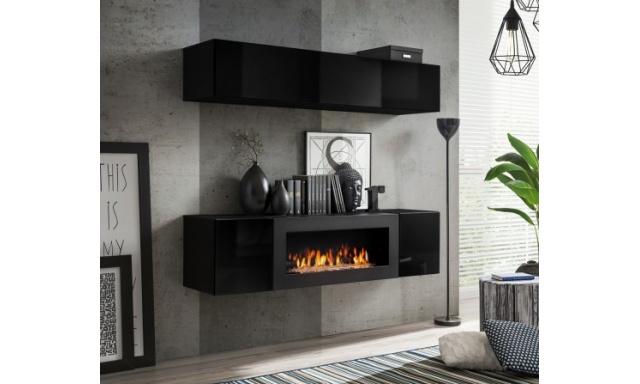 Obývací stěna Falco s BIO krbem, černá